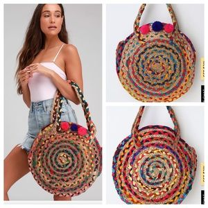 Woven Beige Oversized Round Tote/Purse. New